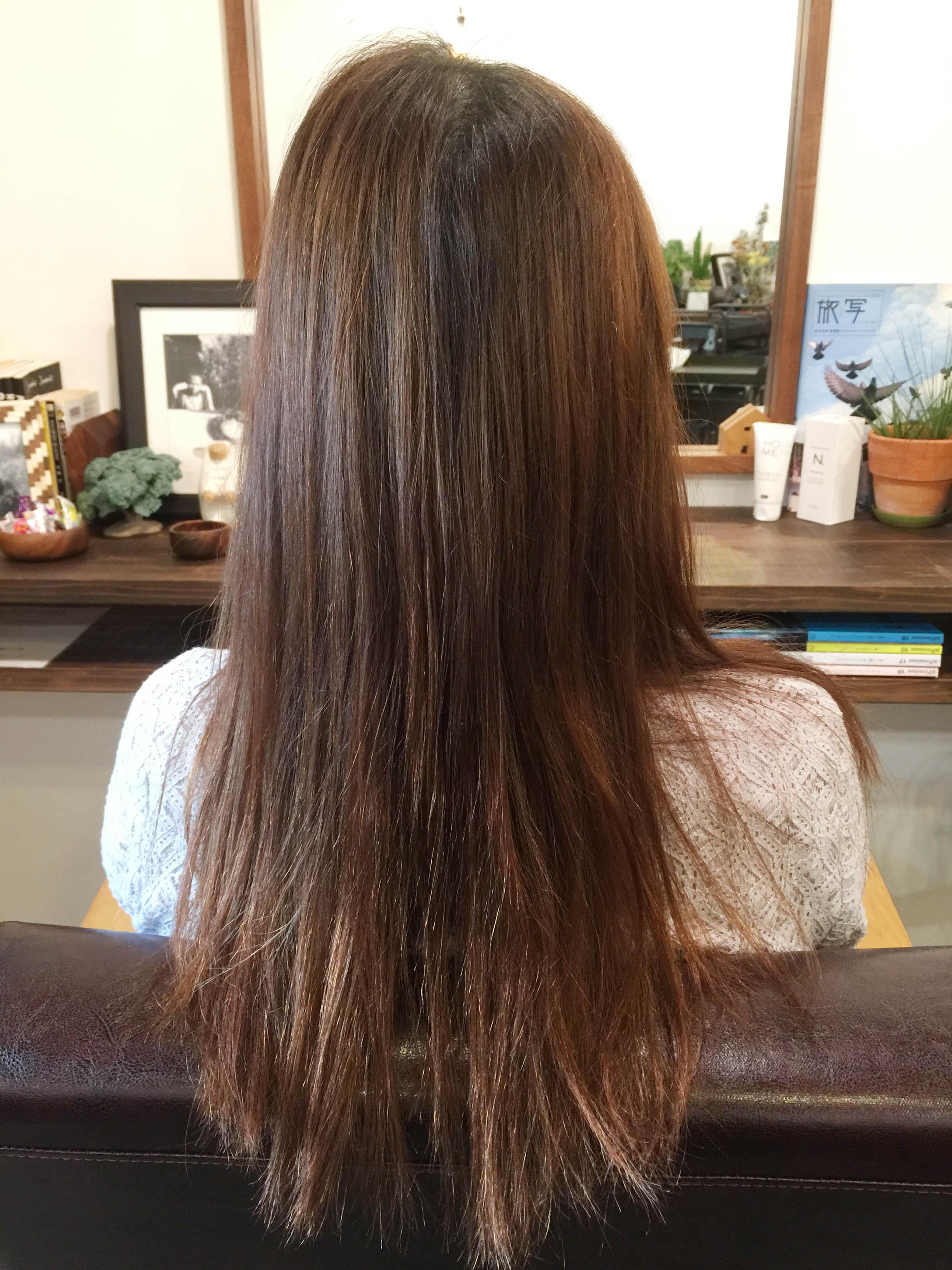 オレンジになった髪色