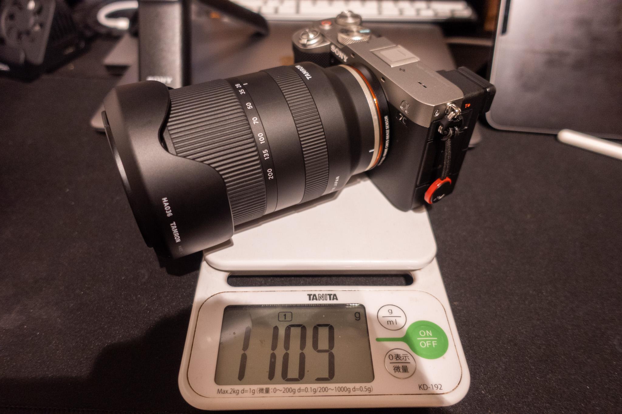α7Cと高倍率レンズ重さ